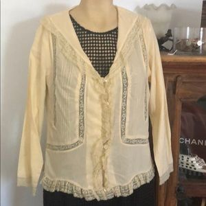Anthropologie ODILLE 8 lace trimmed cotton shirt